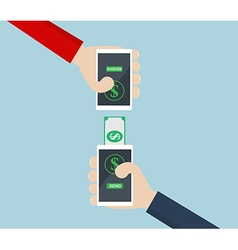 Money transfermoblie banking on smart phone vector