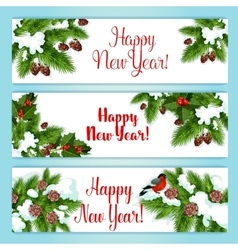 New year tree and holly berry banners vector