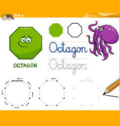 Octagon cartoon basic geometric shapes vector