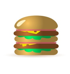 One big isolated tasty hamburger with meat ham and vector