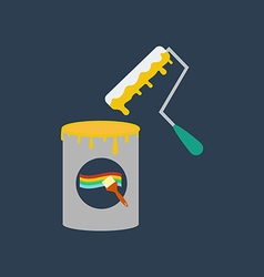 Paint can and roller vector image