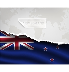 Paper with hole and shadows new zealand flag vector