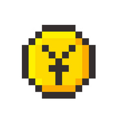 pixel art yen golden coin retro video game vector image