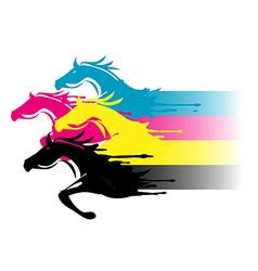 Print colors horses vector