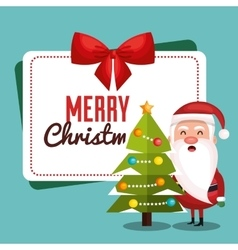 santa claus and tree with card merry christmas vector image