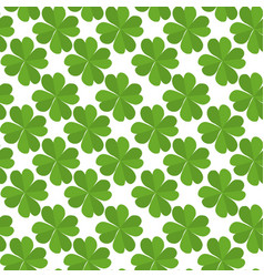 seamless texture with flat lucky four-leaf clover vector image