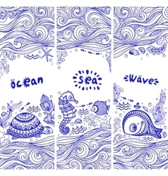 Set of banners with fish and shells vector