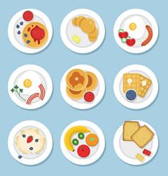 set of healthy food for breakfast vector image