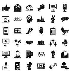 Social dialog icons set simple style vector