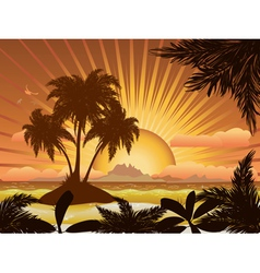 Sunset tropical island1 vector