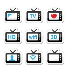 Tv set 3d hd icons set vector