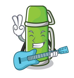 with guitar thermos character cartoon style vector image