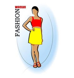 Young fashion woman silhouette vector