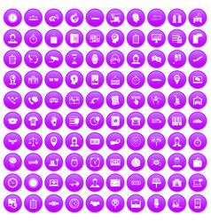 100 working hours icons set purple vector