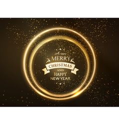 Round golden glowing Merry Christmas rings vector image