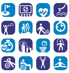 Color fitness icons set vector