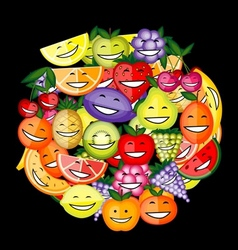 Funny fruit characters smiling together for your vector image