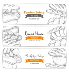Bread house or bakery shop sketch banners vector image