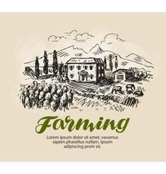Farm sketch rural landscape agriculture farming vector