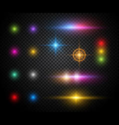 Colorful sparkles light effects set vector
