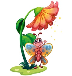 A butterfly waving below the giant flower vector
