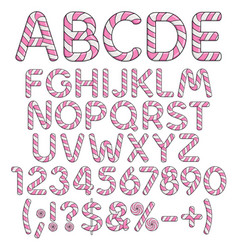 Letters numbers and signs from pink sweets vector