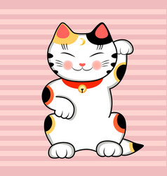 Maneki neko cat wishes good luck vector
