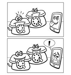 Phones and smart phone comics vector