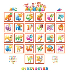 Alphabet with pictures for children vector image