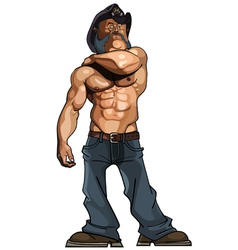 Cartoon bodybuilder man with a naked torso in vector