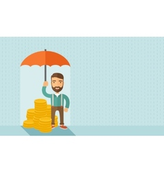 Businessman with umbrella vector