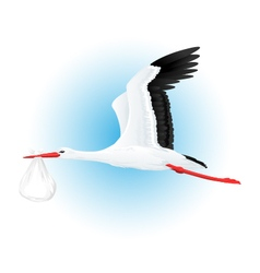 Stork flying with bundle vector
