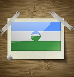 Flags kabardinobalkaria at frame on wooden texture vector