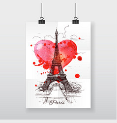 Beautiful hand-draw poster paris and watercolor vector