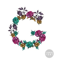Colorful flower font vector
