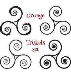 Grunge brush drawn triskels set vector image