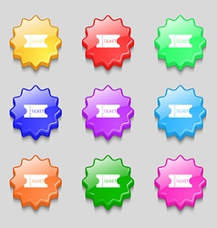 Ticket icon sign symbols on nine wavy colourful vector