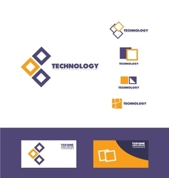 Technology square logo icon vector