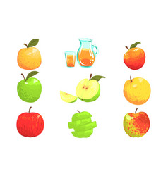 Apples and apple juice cool style bright vector