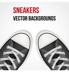 Background of simple black classic sneakers vector image vector image
