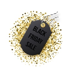 Black Friday sales tag Black tag with golden vector image