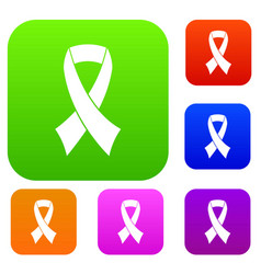 breast cancer awareness ribbon set collection vector image vector image