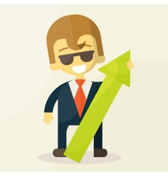 businessman holding graph up vector image