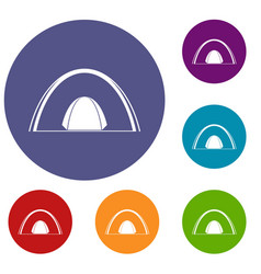 Camping dome tent icons set vector