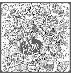 Cartoon hand-drawn doodles Ice Cream vector image vector image