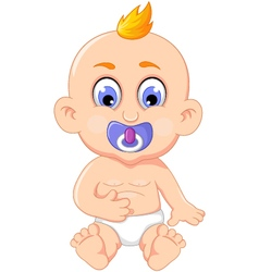 Cute baby cartoon posing for you design vector