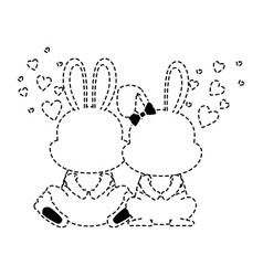 cute couple rabbits characters card vector image