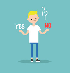 difficult decision yes or no conceptual young vector image vector image