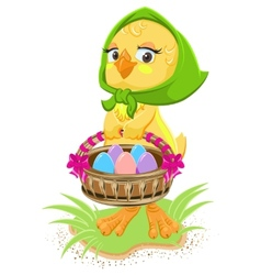 Easter - chicken holding a basket of eggs vector image vector image