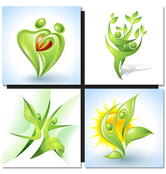 Eco-icon with green dancers vector image vector image